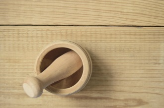 wood mortar and pestle
