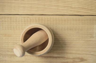 wood mortar and pestle
